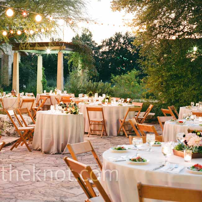 Part of their style inspiration came from unique Texas wildflowers; an outdoor reception in the courtyard surrounded by a native garden was just the right fit.