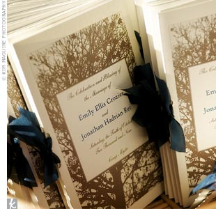 The programs were printed on heavy ivory cardstock, tied with deep teal silk ribbon and displayed in wicker baskets.