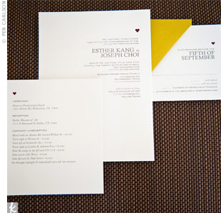 Joes sister Jane designed and printed the invitations on a home printer. The logo? A tiny purple heart. Esther describes them as simple but elegant.