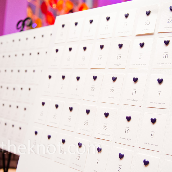 Three easels at the atrium's entry displayed the escort cards, pinned with little hearts that Jane had bought and spray-painted purple.