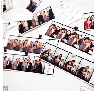 "Guests took their pictures in a photo booth and pinned the pictures on a canvas board with little purple and white heart pins. Little cards with ""Esther & Joseph"" at the top afforded guests the opportunity to write the couple their well wishes."