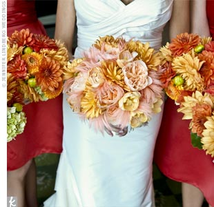 Jennifer's bouquet was made up of orange tulips, roses, and dahlias while the bridesmaid bouquets were dahlias and hydrangeas.