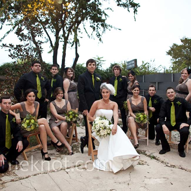 The bridesmaids' brown dresses contrasted brilliantly with the bright green ties that Jeff and his groomsmen wore.