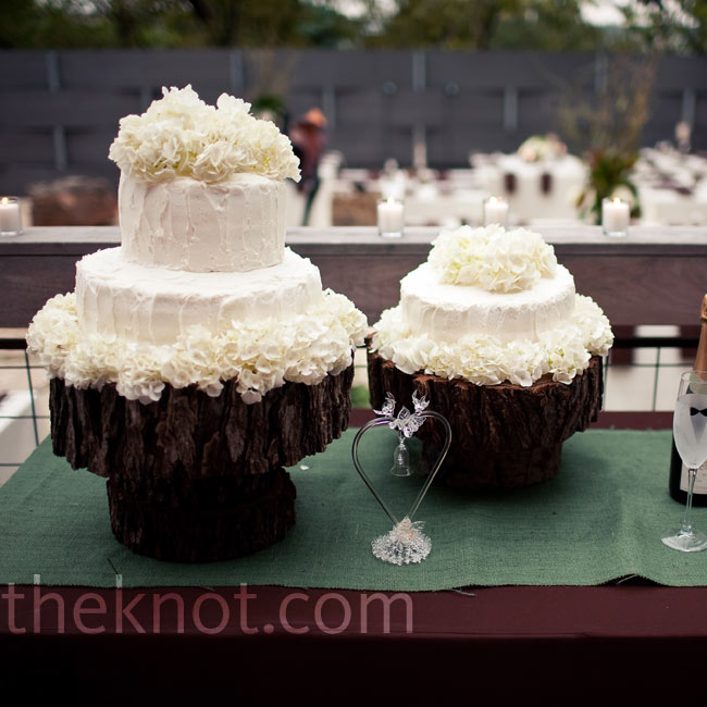In keeping with the natural theme, two tree stumps were used as cake stands.
