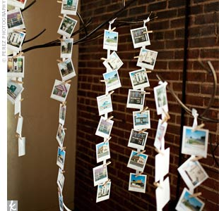 Guests' names were written on the bottom of Polaroids that featured Sarah and Hunter's favorite bars and local landmarks, and were hung at the entrance to the venue.