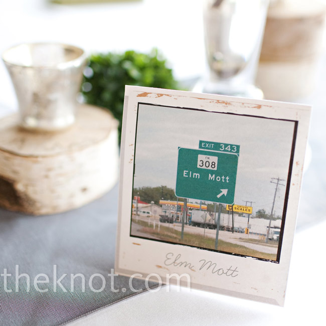 The couple's wedding coordinator designed photos of places that were special to Sarah and Hunter to look like old Polaroids and used them as table names.