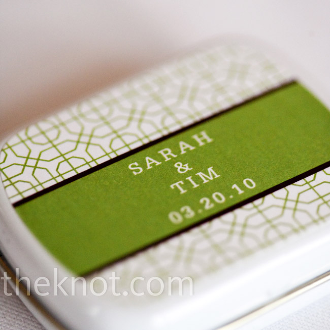 A tiny tin of mints, printed and personalized in a mod green and white pattern, kept the color scheme going.
