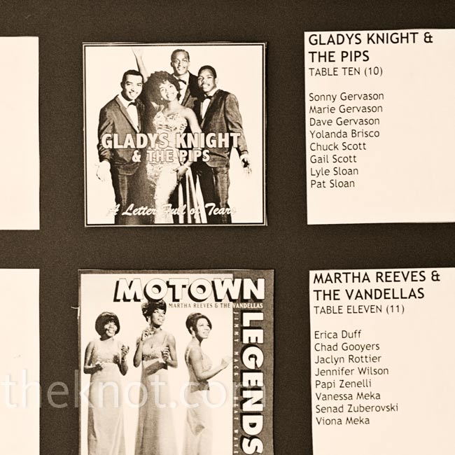 The seating display board was set up like tracks on a record, in keeping with the Motown theme.