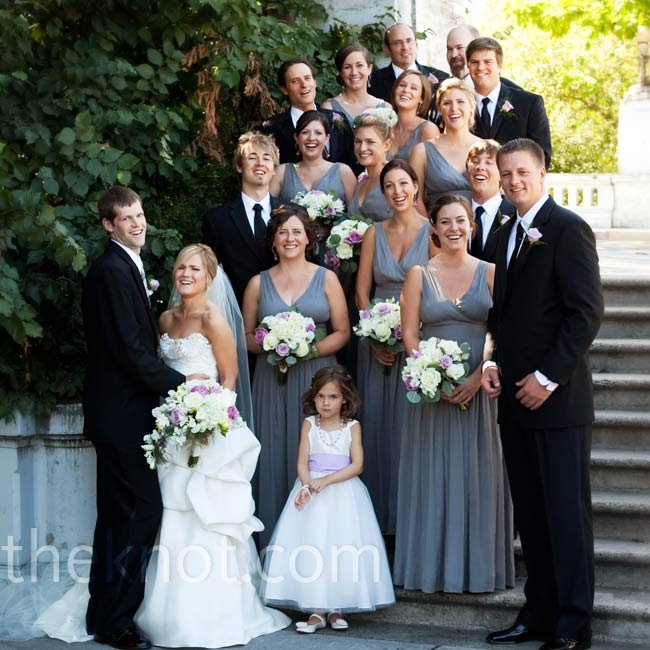 The bridesmaids wore floor-length charcoal gray silk chiffon dresses, which worked with the laid-back, elegant feel that Ruby wanted for her wedding.