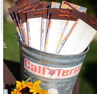 The programs, with patterned brown paper and brown ink, matched the invitations. In keeping with the rustic theme, the programs were placed in an old milk bucket.
