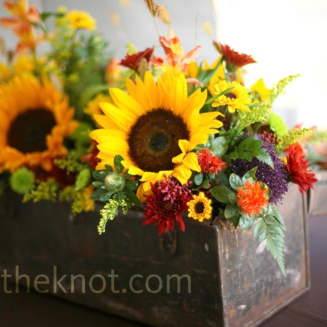 Kristen found this tool box at a thrift store and used it for one of her centerpieces.