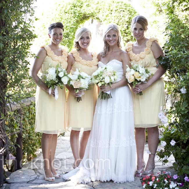 The three bridesmaids wore airy butter yellow dresses with chiffon rosettes around the scoop neckline. Chandra told them they could choose their own styles, but they all loved the same one.