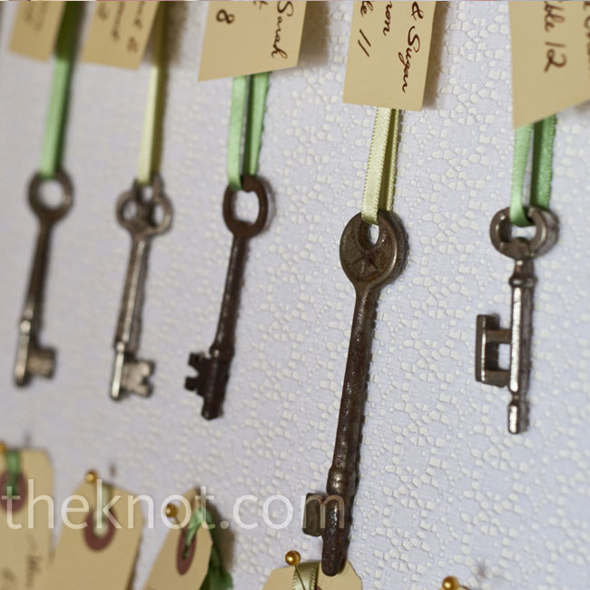 Skeleton keys were pinned onto two boards covered with lace to display each guest's escort card.