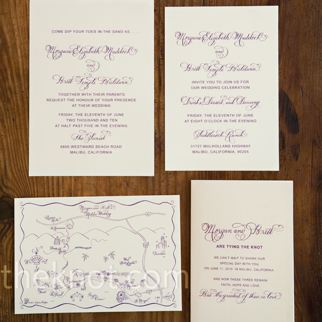 The couple opted for a simple invitation design to let the calligraphy take center stage and chose eggplant purple ink. Since they had lots of guests coming from out of town, they included a custom map of the area.