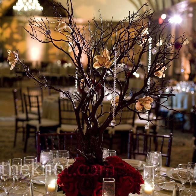 The taller centerpieces were Manzanita branches decorated with crystals and orange cymbidium orchids. A base of roses gave it a touch of red.
