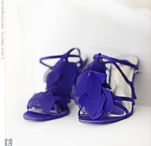 Purple T-strap heels with chiffon petals pulled Julie's favorite color into her look.