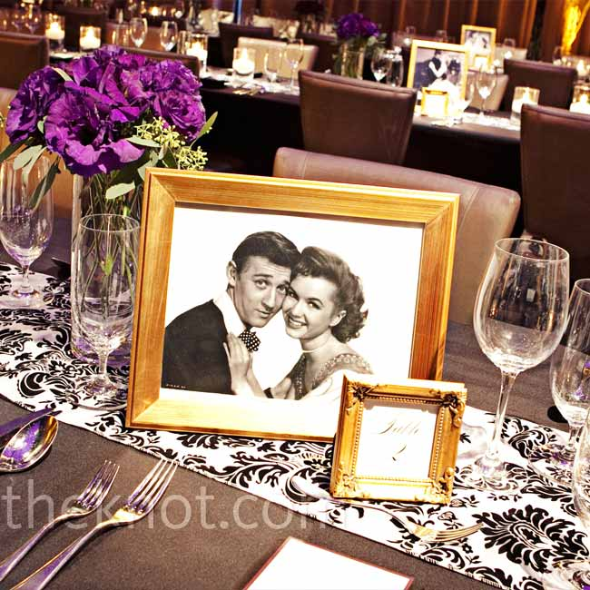 As a nod to the location and the color palette, black-and-white photos from old movies and television shows decorated the tables.