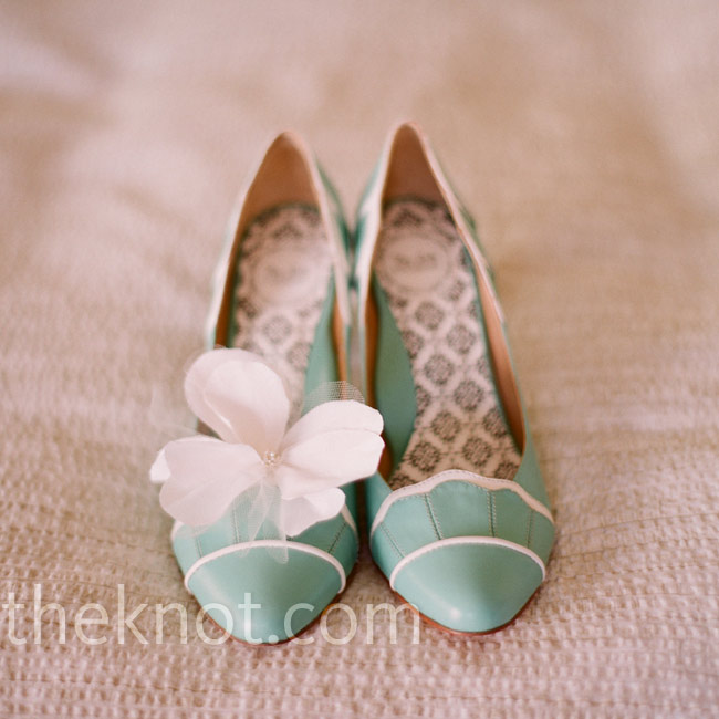 "At the reception, Susannah wore these Tiffany blue and white pumps, which served as her ""something blue."""