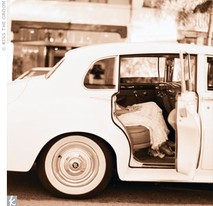 They rented a chic, white Rolls-Royce for the day to take them to and from the ceremony and reception.