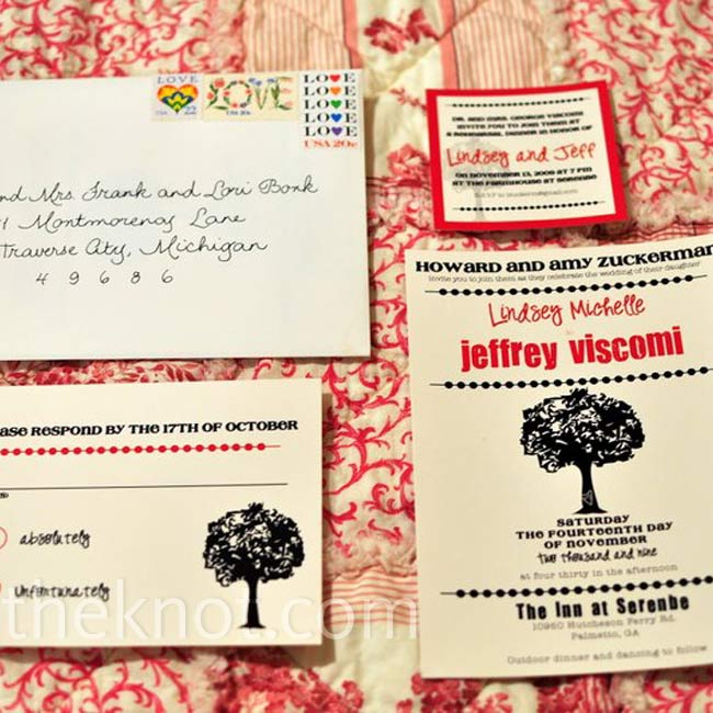 An Etsy artist designed stationery that matched the tree in Serenbe's logo and featured the couple's initials on the trunk.