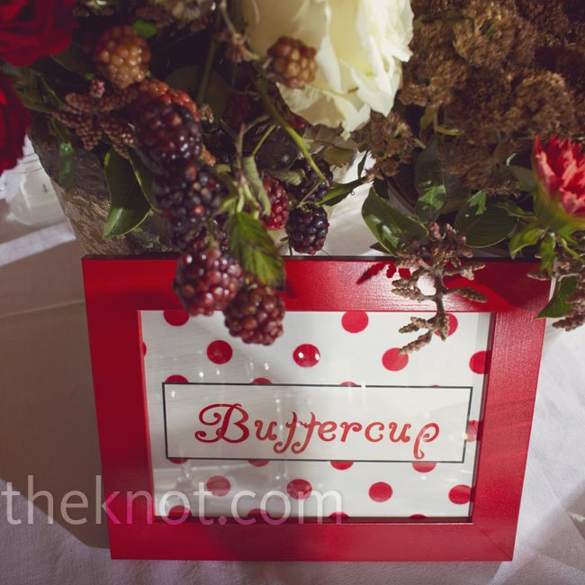 Each table was named after a term of endearment like Buttercup or Sweetie Pie and printed in fun fonts with bright red ink.
