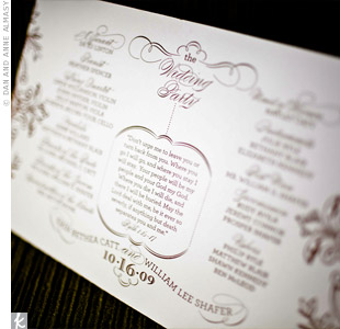 Chocolate-colored ink carried the fall color scheme into the elegant, double-sided letterpressed programs.