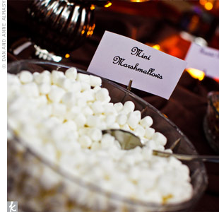 One of the couple's favorite menu options was the sweet potato sundae bar -- mashed sweet potatoes served in martini glasses with an assortment of toppings like mini-marshmallows and cinnamon.