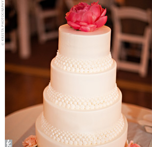 The white cake was simple yet elegant, decorated with buttercream pearls and topped off with a peony.