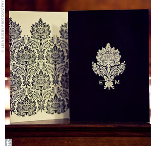 This bold black-and-white damask pattern inspired the wedding day stationery.