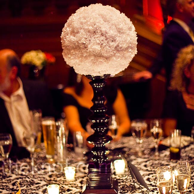 Believe it or not, these white centerpieces are made of tissue paper!