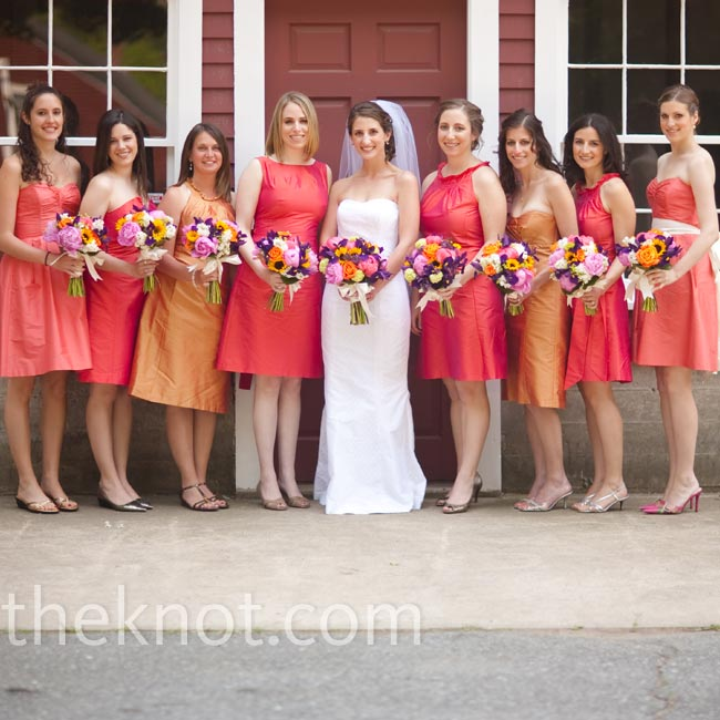 Karen's eight bridesmaids came from all the corners of the world and had the style to show for it, wearing different dresses in three shades all from the same designer.