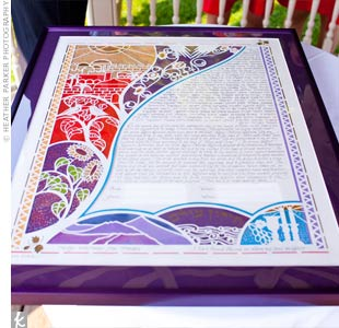 The couple's ketubah included details from their relationship like to cityscape of Jerusalem (where they met).