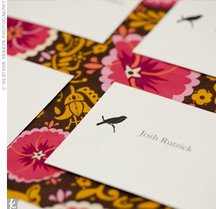 A simple bird silhouette gave the escort card envelopes a cute, rustic look and feel.