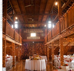Twinkle lights lined the walls of the barn, creating an intimate reception vibe.