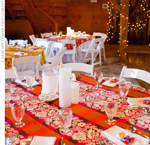 To go with their colorful theme, the tables were topped with patterned fabric in bright fall tones.