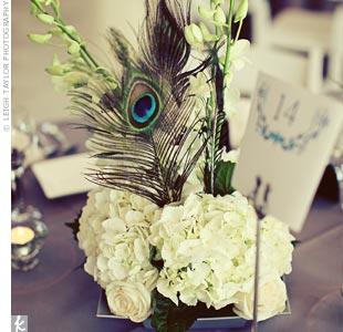 Floral and Feather Centerpieces
