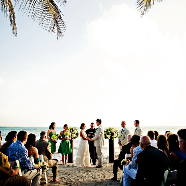 Barefoot, Randie and Jack exchanged vows in the sand at sunset on Casa Marina Resort's east beach.