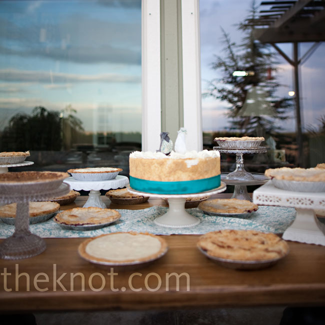 In addition to the wedding cake, the dessert table had an array of pies.