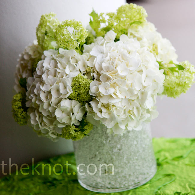 Green and white hydrangea centerpieces added a fresh element to the tables.