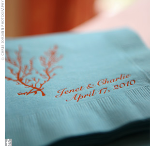 Blue and Coral Napkins