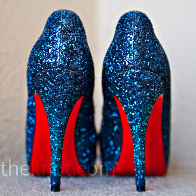 This pair of sparkly blue Christian Louboutins matched the couple's navy wedding color perfectly.