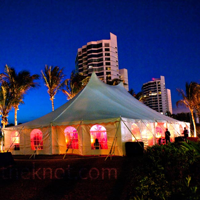 A big tent for dinner and dancing was set up in one of The Ritz-Carlton's gardens.