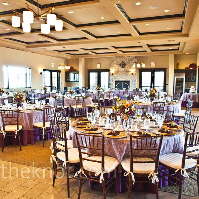 Shiny, gold chargers popped on the tables, which were covered with plum-colored linens and sheer overlays.