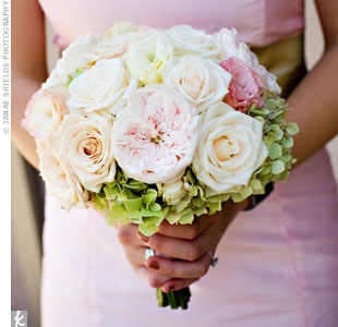 The bridesmaid bouquets had darker shades of pink than Stephanie's and were slightly smaller.