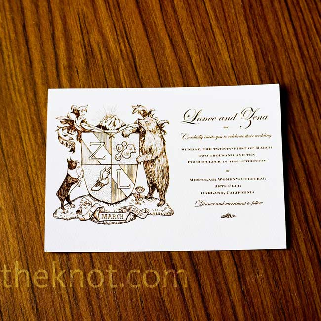Zena's sister Kara drew a family coat of arms for the couple's invitations. It incorporated bits and pieces of their lives, such as their Boston terrier, Roxie, and a bear to signify their shared love for the outdoors and backpacking.