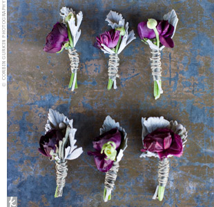 The guys wore purple ranunculus wrapped with twine.