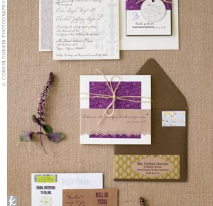 The plum color and twine ribbon kept all the paper elements cohesive.