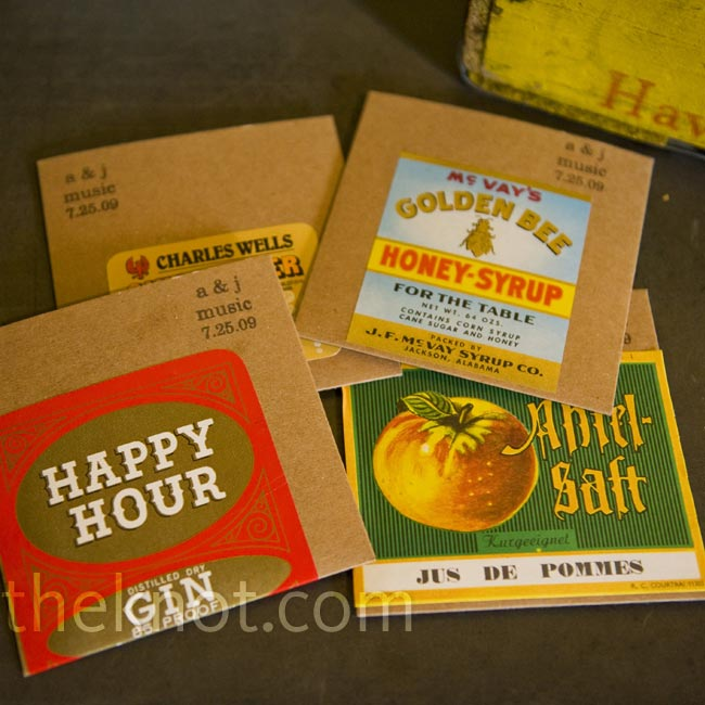The couple made mix CDs and slid them into sleeves with a custom stamp and colorful vintage food and drink labels.