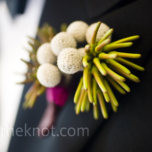 A fun boutonniere of white craspedia balanced out the look of Ben's formal tux.