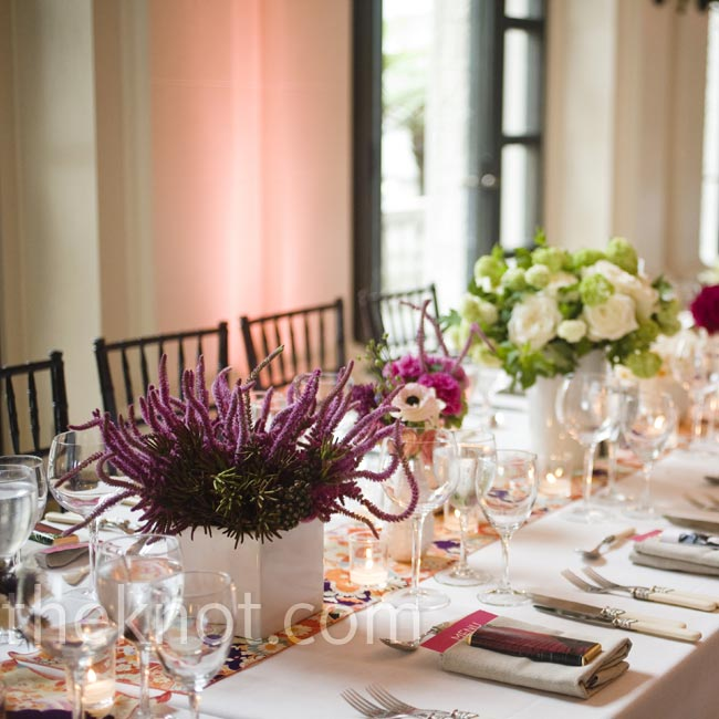 For a true garden vibe, no two floral arrangements looked the same. Lots of blooms topped the tables.